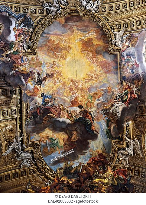 Triumph of the sacred name of Jesus, fresco by Giovanni Battista Gaulli known as Baciccio (1639-1709), vault of the nave, Church of the Gesu, Rome