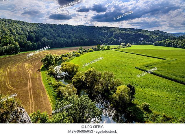 Germany, Baden-Wurttemberg, Swabian Alb, Upper Danube Valley, Inzigkofen, Princely Park, Danube Valley, view from Känzele