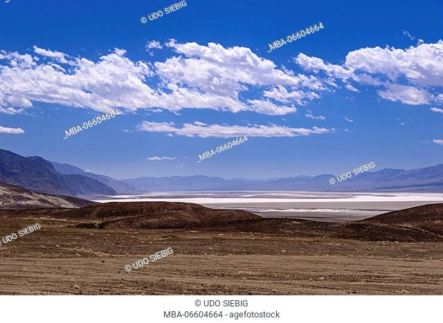 The USA, California, Death Valley National Park, Badwater Basin, view from Artists drive