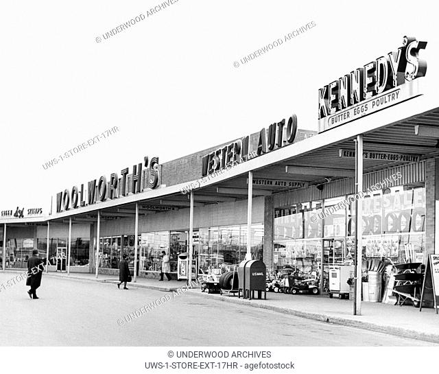 Worcester, Massachusetts: c. 1960 A strip mall shopping center with S&H Green Stamps, Woolworth's, Western Auto, and Kennedy's stores