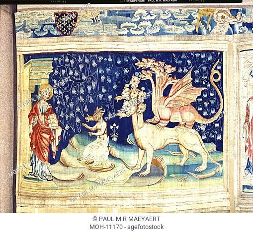 La Tenture de l'Apocalypse d'Angers, Les grenouilles 1,55 x 2,48m, Frösche kommen aus dem Rachen des Drachen