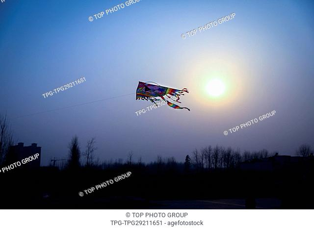 Kite flying on the sky