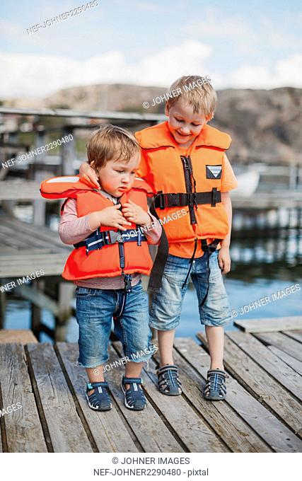Boys wearing life jackets