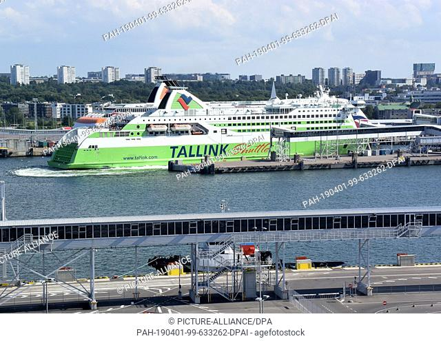 12 July 2018, Estonia, Tallinn: The ferry Tallink Shuttle is located at the ferry terminal of the port city. Tallinn (former German name: Reval)