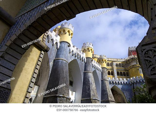 sintra palace view with cloudy sky, Portugal