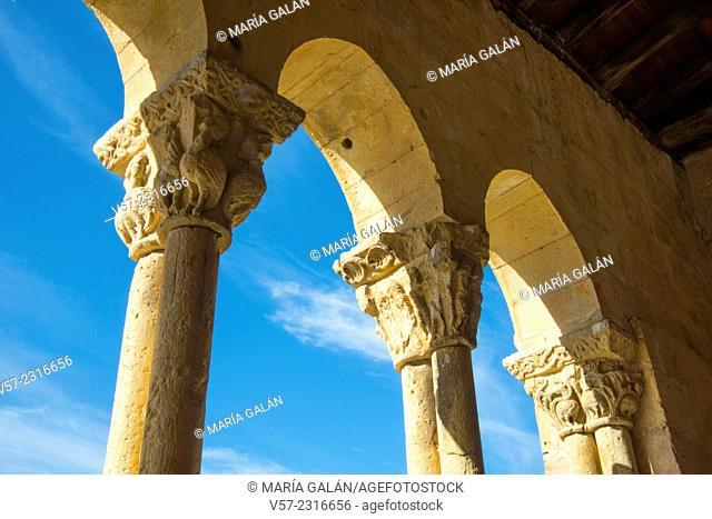 Romanesque church, detail of the facade. Sotosalbos, Segovia province, Castilla Leon, Spain