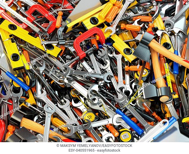 Tool background. Heap of different tools. Workshop. 3d