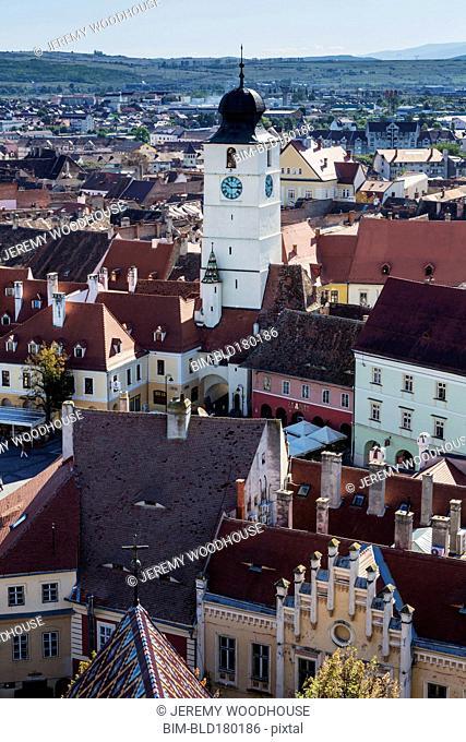 Aerial view of Sibiu cityscape and blue sky, Sibiu, Romania