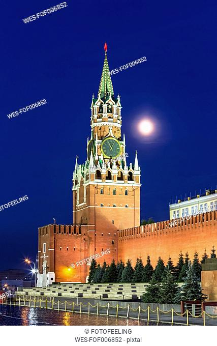 Russia, Moscow, view to Spasskaya Tower and Kremlin wall by night