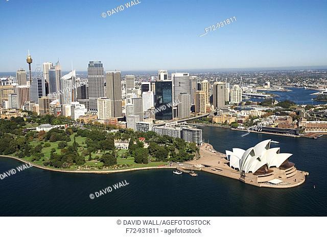 Aerial view of Sydney Opera House, Royal Botanic Gardens, CBD and Circular Quay