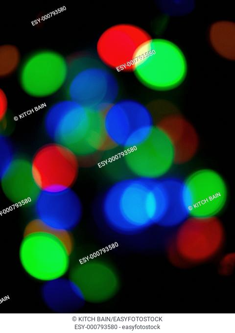 Christmas tree lights out of focus for effect