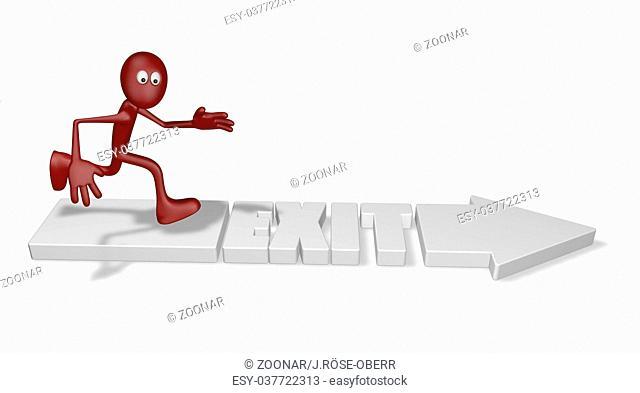 pfeil mit dem wort exit und rennende cartoonfigur - 3d illustration