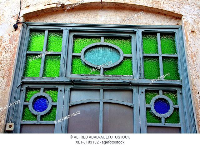 door with green and blue crystals, Caldes de Malavella, Catalonia, Spain