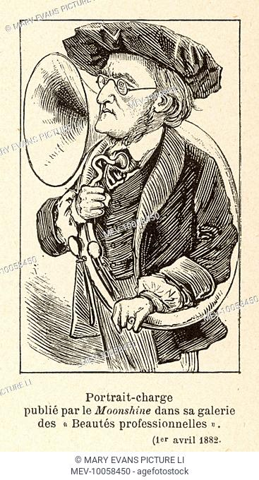 RICHARD WAGNER German composer with a large hunting horn, which featured prominently in his operas, but which he personally did not play