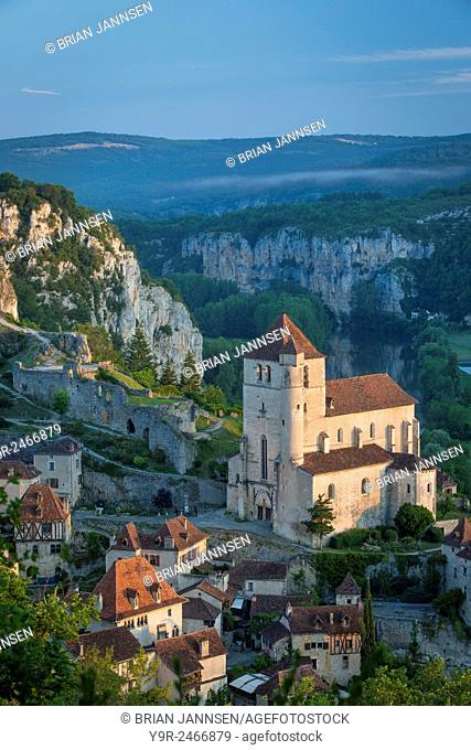 Early morning over Saint-Cirq-Lapopie, Lot Valley, Midi-Pyrenees, France