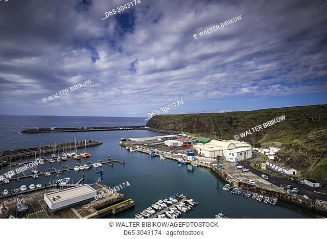 Portugal, Azores, Santa Maria Island, Vila do Porto, elevated port view