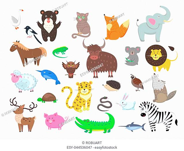 Cute wild and domestic animals cartoon stickers or icons set. Funny owl, leopard, turtle, crocodile, and pig isolated flat vectors