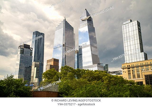 10 Hudson Yards, center left, 30 Hudson Yards, center right, and other development around Hudson Yards in New York on Tuesday, July 2, 2019