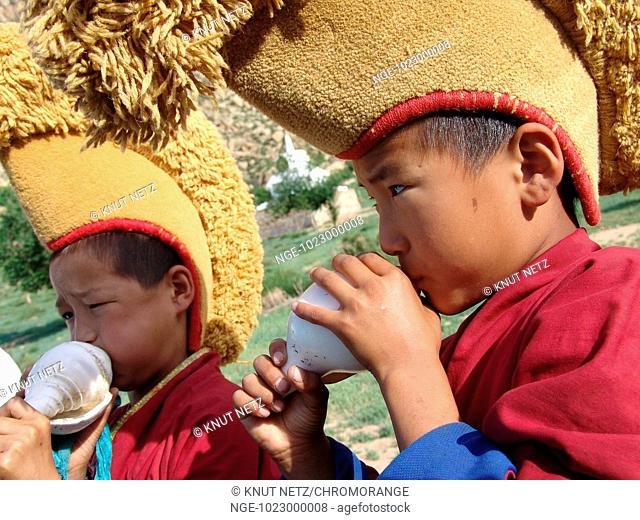 Novices, young Monks with Conch Shell, Mongolia