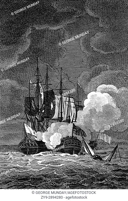 "On 23 December 1756, the first year of the Seven Years' War, the British privateer """"Terrible"""", met the French privateer """"Vengeance"