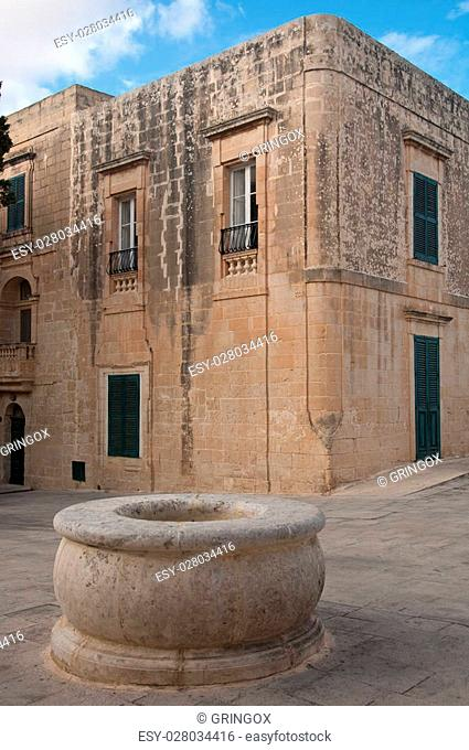 Detail of a square in the city of Mdina , Malta