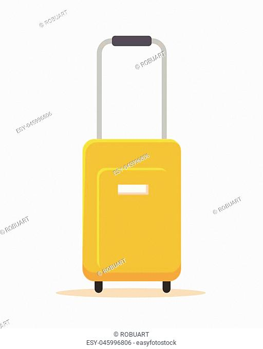 Orange suitcase vector illustration in flat style design. Isolated on white backgroud. Summer vacatoin, travel, jourmey, trip concept