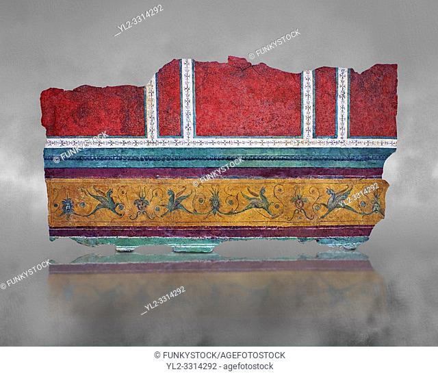 Roman fresco wall decorations of Corridor F-G of the Villa Farnesia, Rome. Museo Nazionale Romano ( National Roman Museum), Rome, Italy.