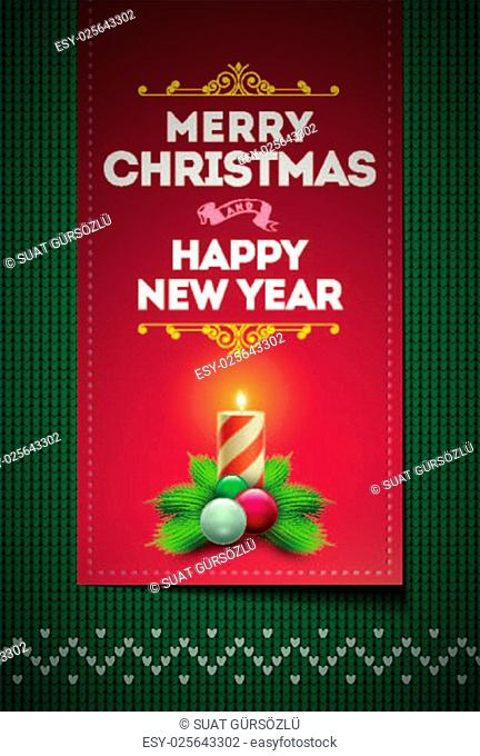 Merry Christmas and Happy New Year message on vector knitted pattern. Elements are layered separately in vector file. Global colors. Easy editable