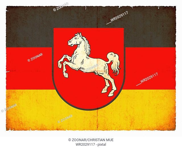 Grunge flag of Lower Saxony (Germany)