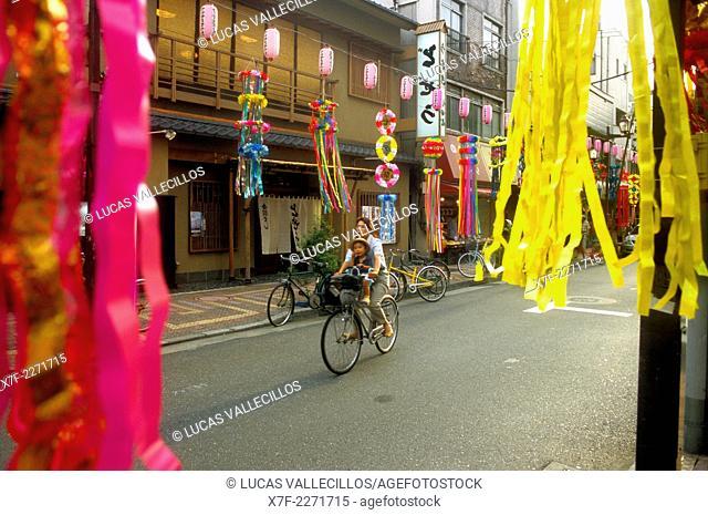Asakusa.Decoration in Kappabashi St. during Shitamachi Tanabata festival (july).Tokyo city, Japan, Asia