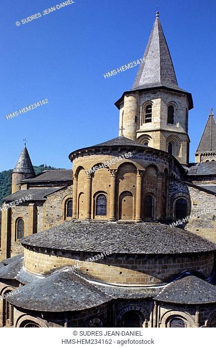 France, Aveyron, Conques, labelled Les Plus beaux Villages de France the Most Beautiful Villages of France, apse of Sainte Foy's Abbey Church, 11th century