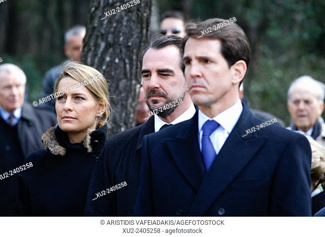 Prince NIKOLAOS(M) with his wife Princess TATIANA(L) and Prince PAVLOS of Greece attend the ceremony. The annual memorial service in honour of King Pavlos and...