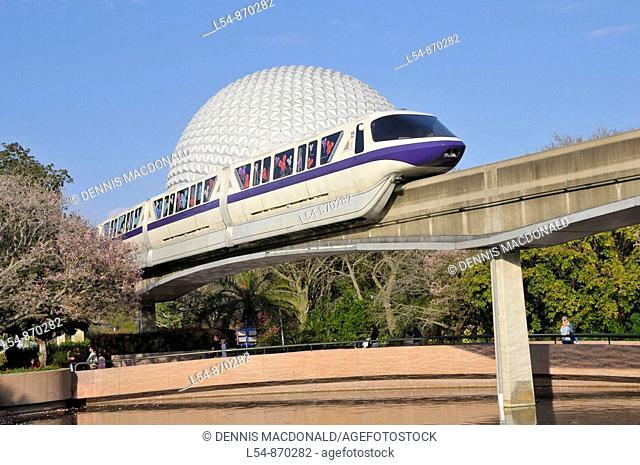 Monorail approaches Spaceship Earth at Walt Disney World Epcot Theme Park Center Orlando Florida Central