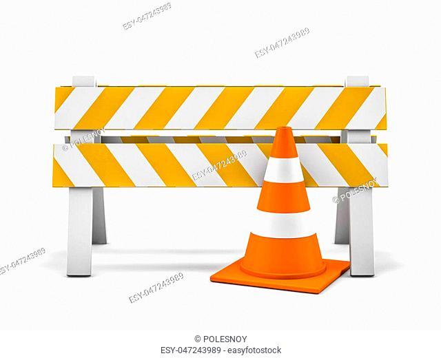 Road repair, under construction road sign. 3D rendering