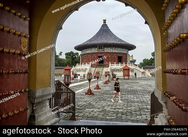 Tourists visit Temple of Heaven in Beijing, China on 14/09/2021 An imperial complex of religious buildings is on of the landmarks of Chinese capital by Wiktor...