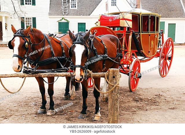 Horse and Carraige Await in Colonial Williamsburg
