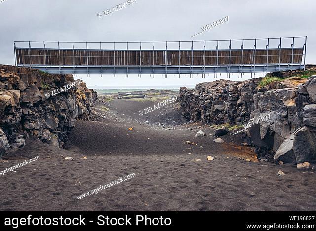 Bridge between Europe and North America in Reykjanes UNESCO Global Geopark area in Reykjanesskagi - Southern Peninsula, Iceland