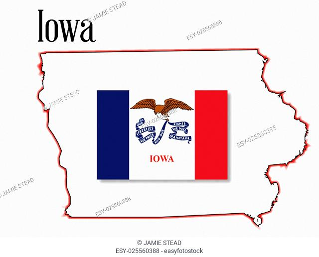 Outline map of the state of Iowa over a white background with flag inset
