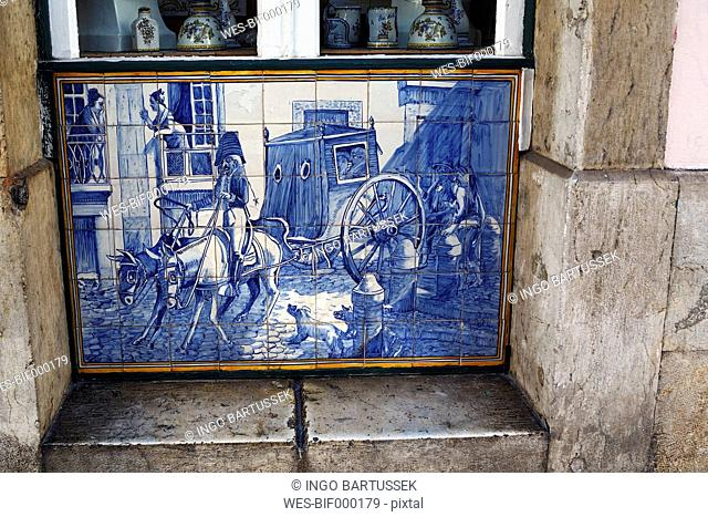 Portugal, Lisbon, Bica, Rua do Alecrim, Aluzejo-Tableau at a store of a tile factory