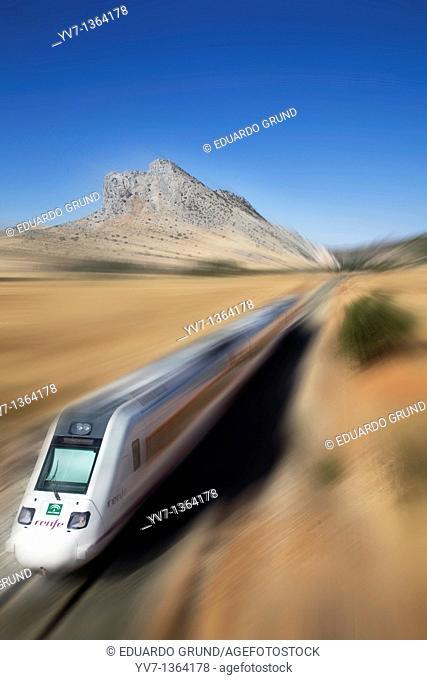 La Peña de los Enamorados and the train line Antequera - Granada, Antequera, Andalusia, Spain