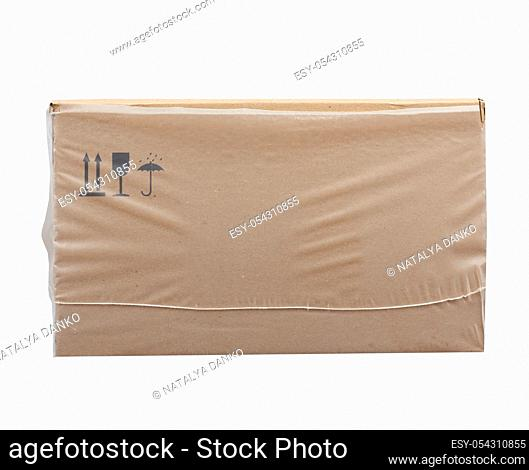 rectangular box wrapped in transparent polyethylene, box for transporting bottles, side view