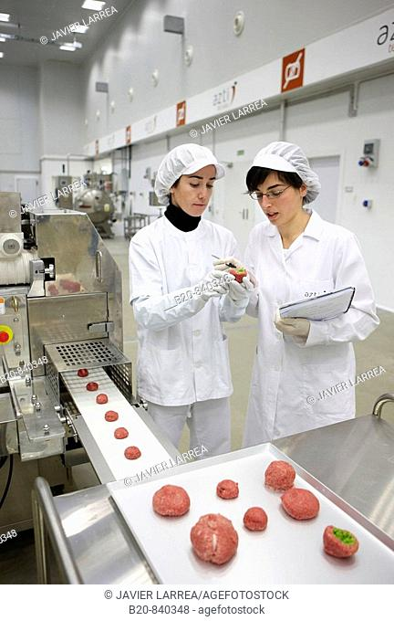 Researchers preparing vegetable-filled meatballs using food co-extrusion technology, pilot plant, AZTI-Tecnalia, Technology Centre for Marine and Food Research