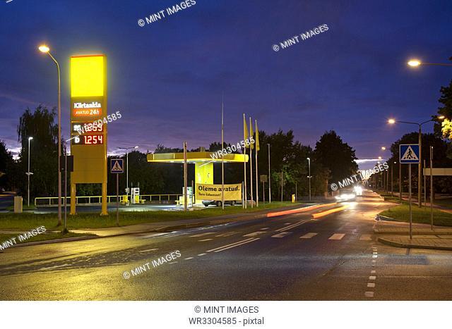 Estonian Gas Station at Night