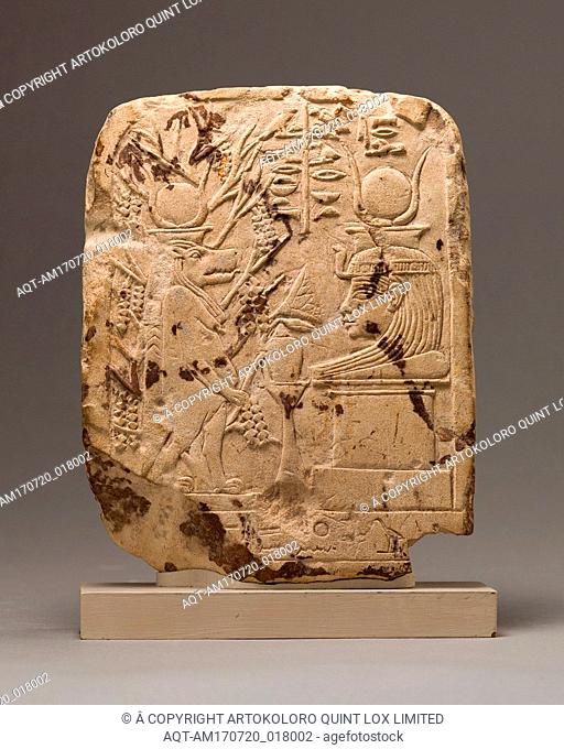 Votive stela with figures of Goddesses Taweret and Mut of Isheru, New Kingdom, Dynasty 18, ca. 1390–1352 B.C., From Egypt; Probably from Upper Egypt, Thebes