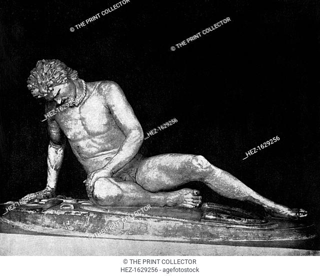 'The Dying Gaul', (1893). An ancient Roman marble copy of a lost ancient Greek statue. From the collection of the Capitoline Museums, Rome