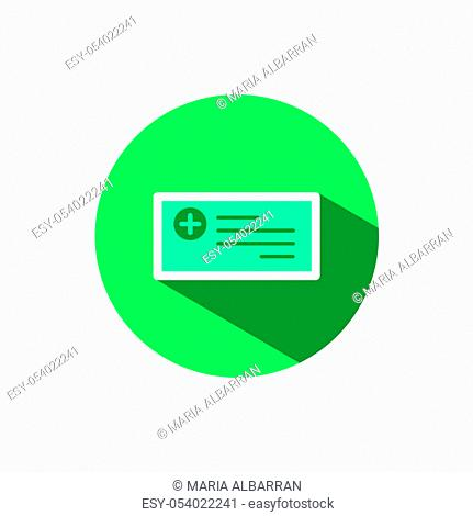 Prescription icon with shadow on a green circle. Flat color vector pharmacy illustration