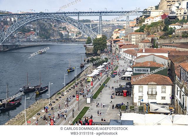 View of Oporto river and touristic walk area from funicular, Portugal