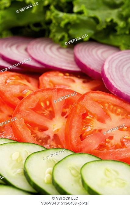 Close-up of sliced vegetables