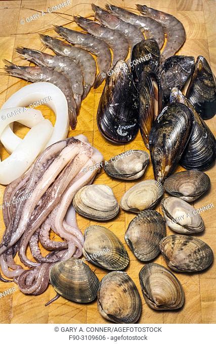 Mixed seafood paella ingredients, Salobreña, Granada, Spain