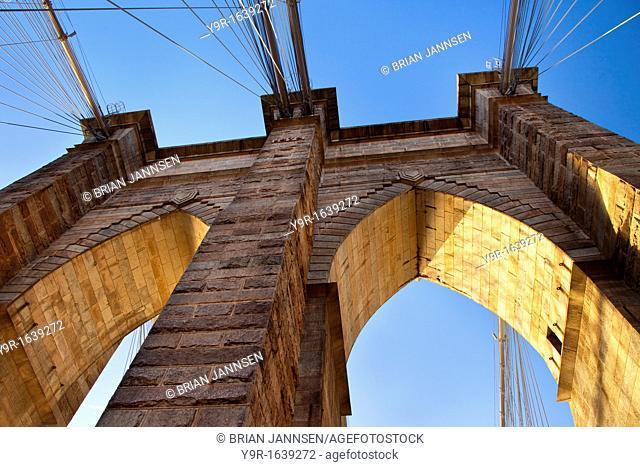 Early morning on the Brooklyn Bridge, New York City, USA